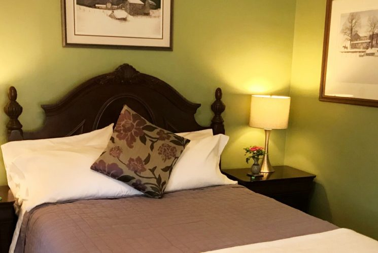 Elegant guest room with dark brown queen bed, green walls and two side tables with lamps
